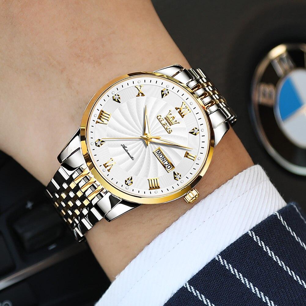 OLEVS Men Mechanical Watches Luxury Stainless Steel Waterproof Automatic Wristwatch 2021 Business Dress Self Winding Clock Reloj enlarge
