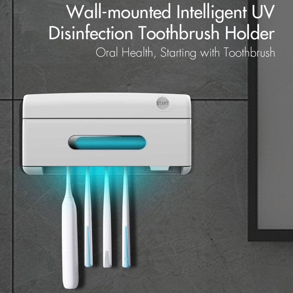 Esterilizador de dientes para cepillo dental o navaja de rasurar, esterilizador con luz UV para cepillo de dientes y eliminación de bacterias, montaje en pared