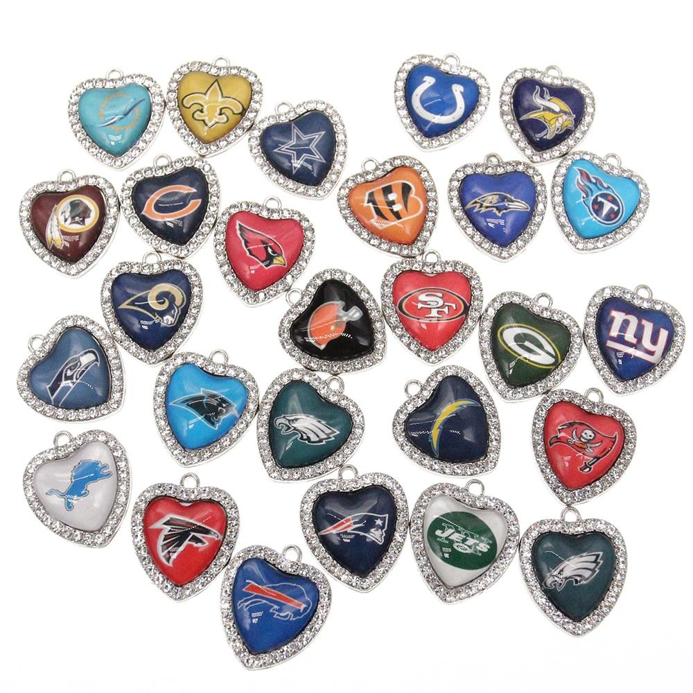 New Custom 32 Designs Rhinestone Heart American Football Pendant Charms