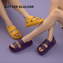 Casual Outdoor Sandals EVA Soft Women Thick Sole Shoes Couple Travel Beach Shoes Slip On Footwear Su