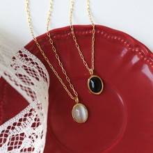 Stainless Steel Minimalist Necklaces For Women Black And White Luster Oval Chain Fashion Statement L