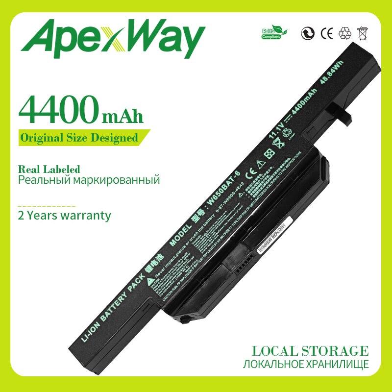 Apexway 4400 mAh batería del ordenador portátil para Hasee K610C K650D K570N K710C K590C K750D serie Clevo W650S W650BAT-6 batterie