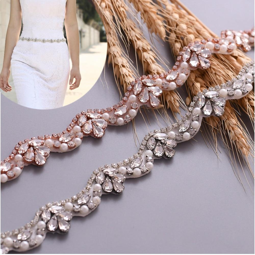 TOPQUEEN Marco de boda de cristal Boda nupcial cinturón brillo cinturón de diamantes de imitación de plata de moda de oro rosa lentejuelas cinturón S421G