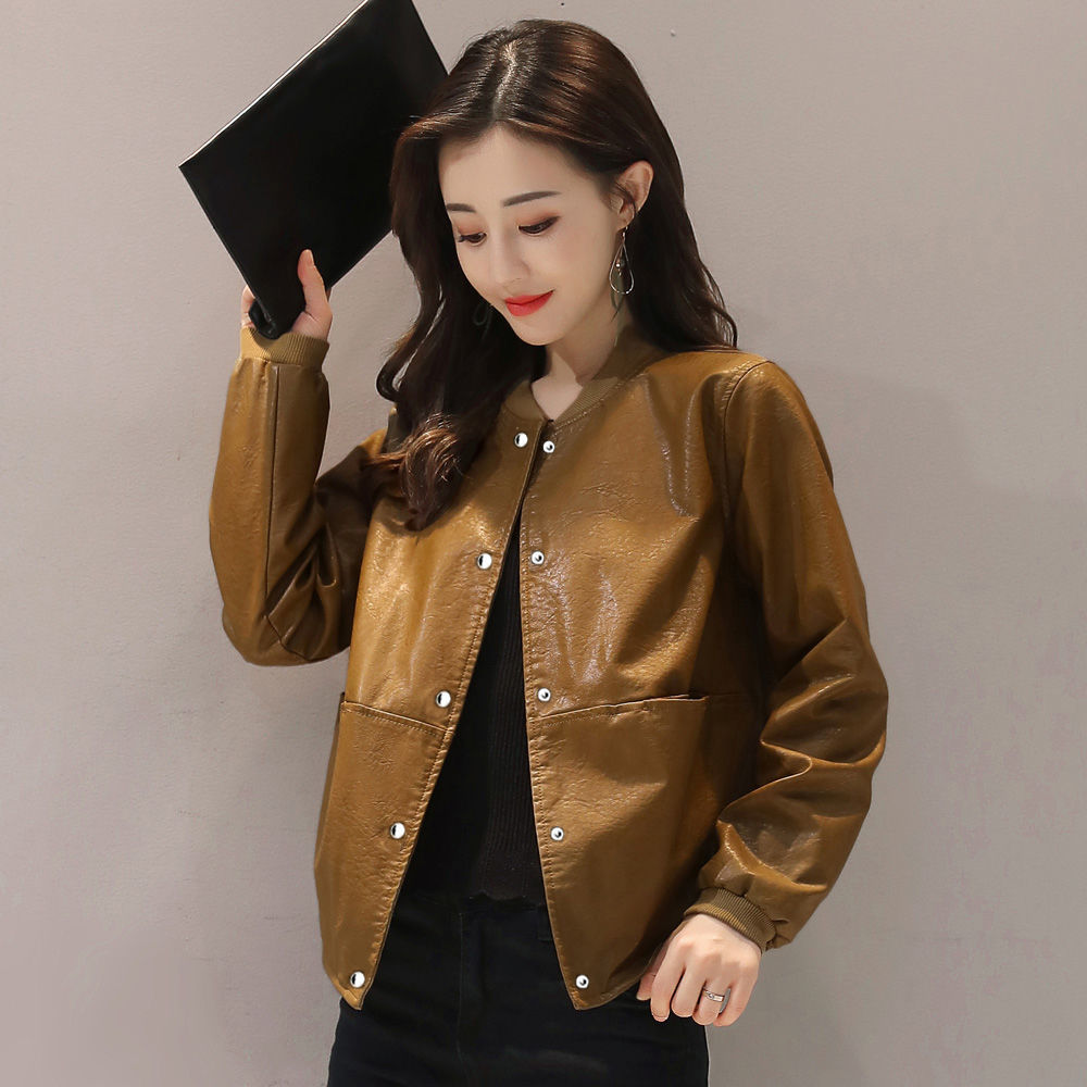 Short leather women spring and autumn 2021 Korean loose large collar PU leather short coat casual leather jacket women's fashion