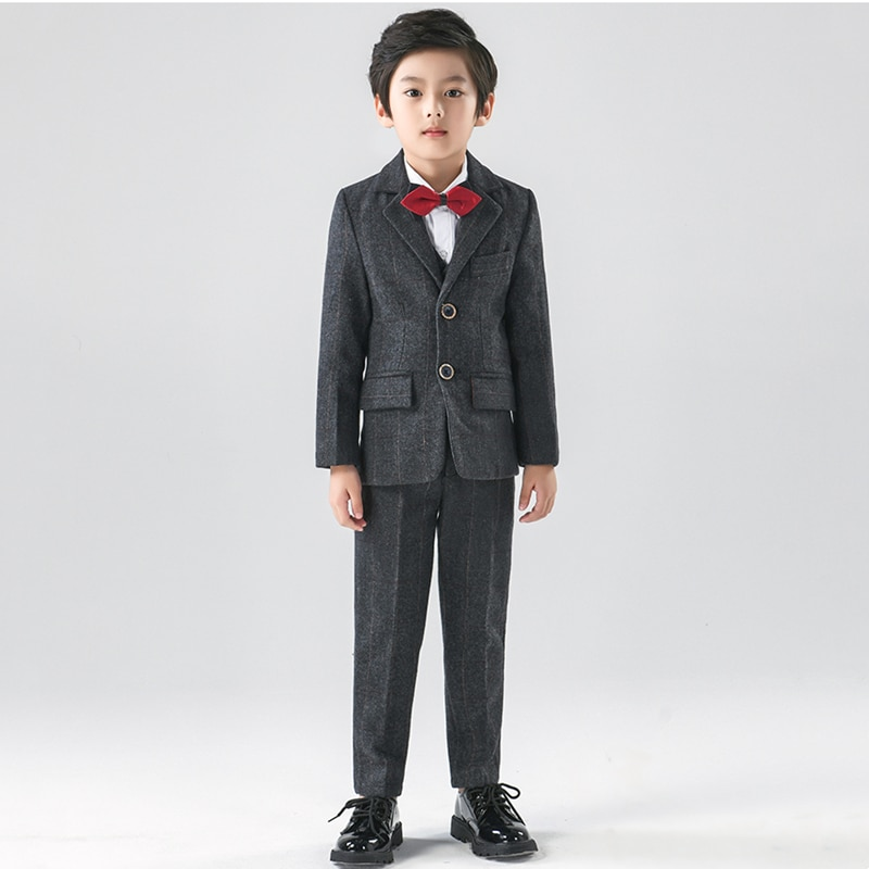 الصبي رداء غير رسمية السترة زهرة الصبي فستان بتصميم بدلة لل زفاف الأطفال الرسمي السترة ملابس الأطفال الدعاوى 5-Piece مجموعة