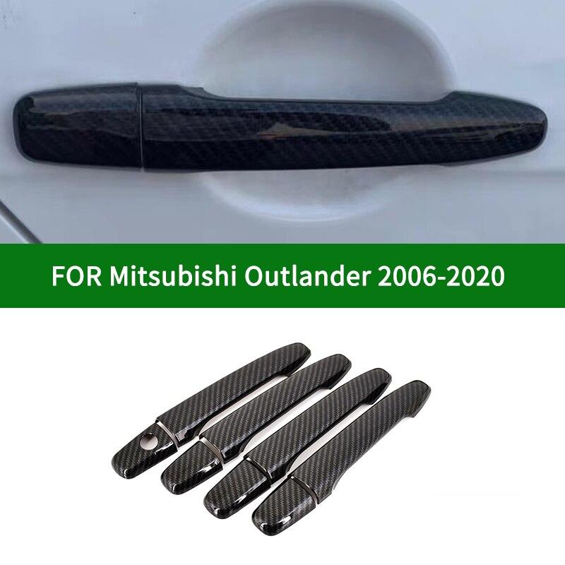 Smart carbon fibre pattern car side Door Handle Covers Trims For Mitsubishi Outlander / Outlander Sport ASX RVR