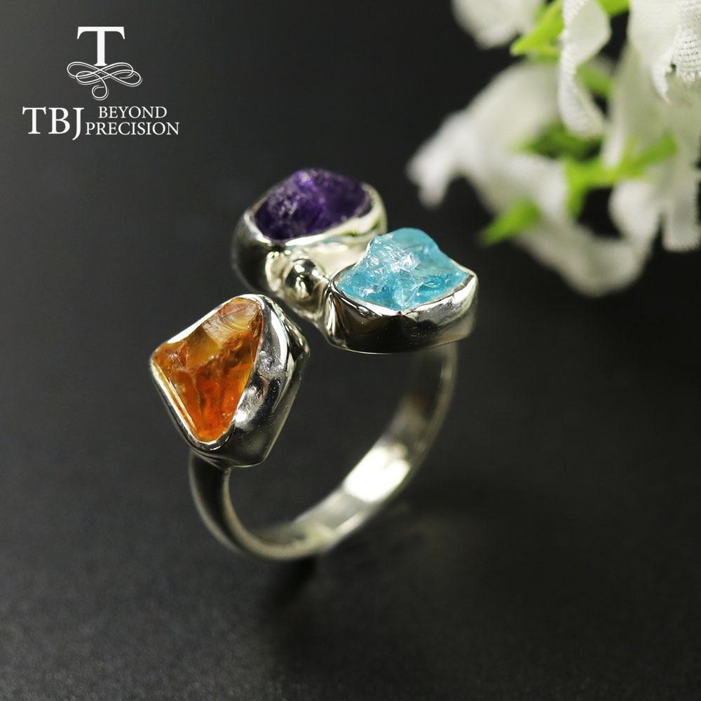 Tbj, 2020 original artesanal anel áspero ametista natural citrino apatite gemstone feminino anel 925 sterling fine jewelry presente festa