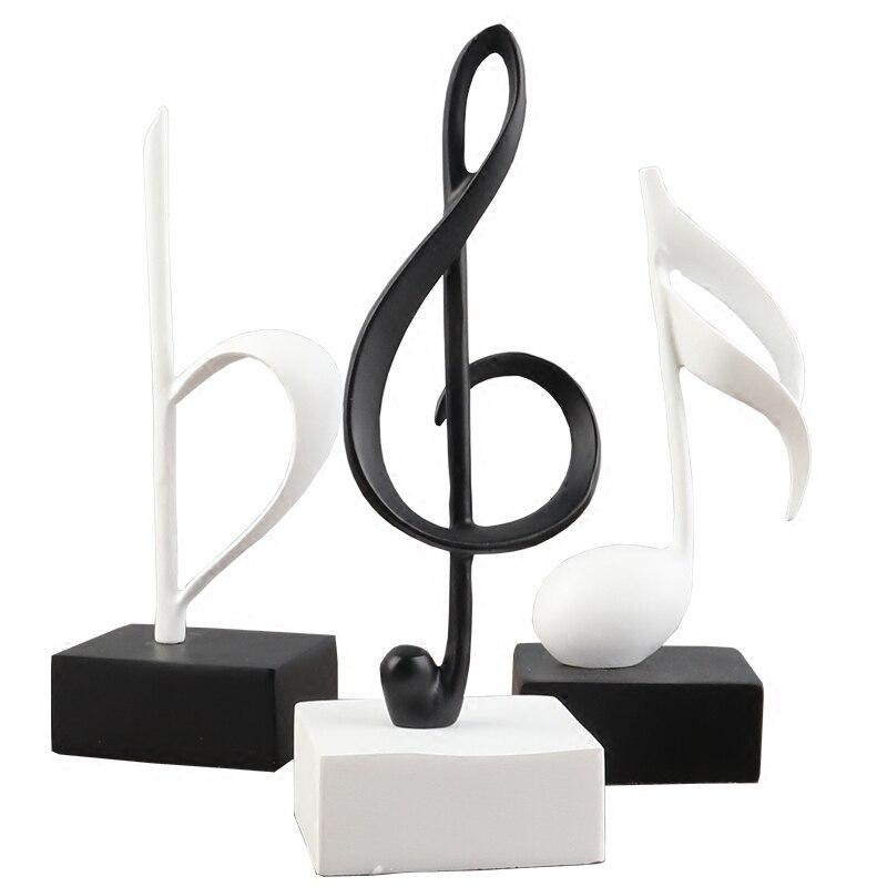 Moderno nórdico preto e branco notas definir aula de música piano resina artesanato configurar tv estante decorações.