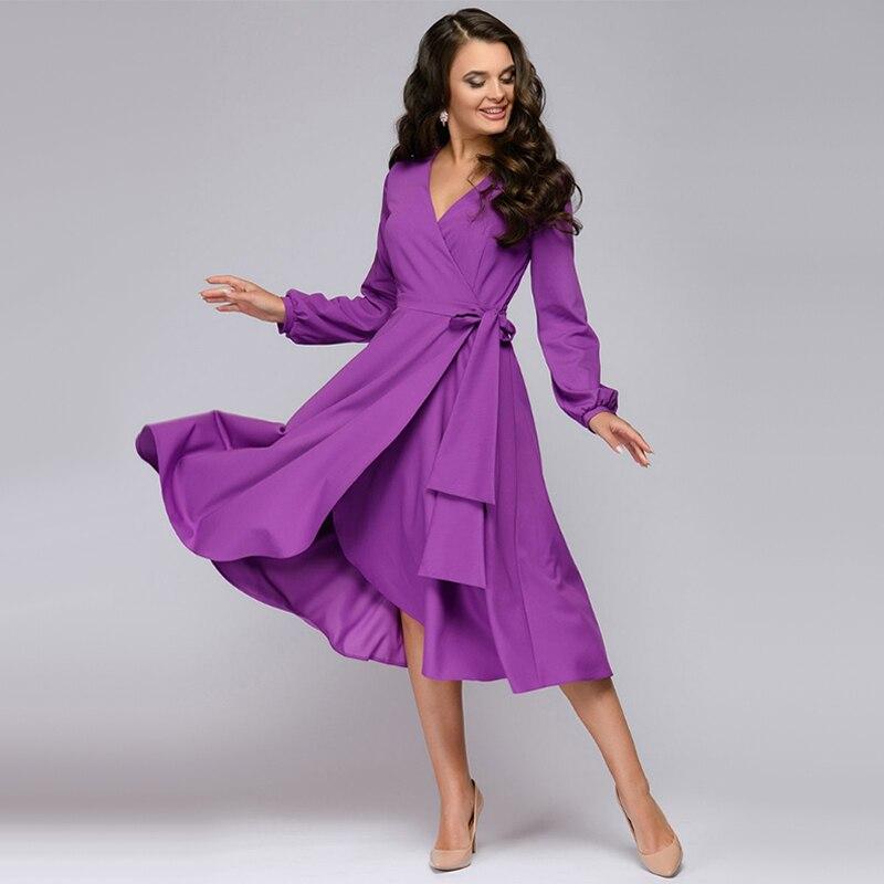 Elegante A-linie Kleider Frauen Violet Midi Kleid Langarm Sexy v-ausschnitt Solide Elegante Casual 2020 Herbst Neue Mode Frauen kleider