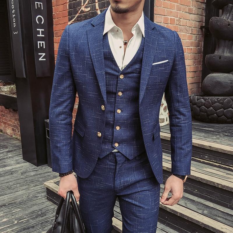 2021 ملابس رسمية و سترة الرجال نوعية جيدة الأزرق منقوشة الدعاوى موضة الذكور فستان رسمي الدعاوى السترة جاكيتات السراويل سترة