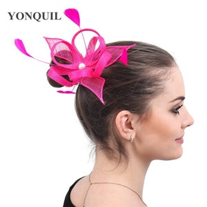 Hot Pink Wedding Headwear For Ladies Fashion Formal Hair Fascinator Accessories With Fancy Feather Headdress Cocktail Hats