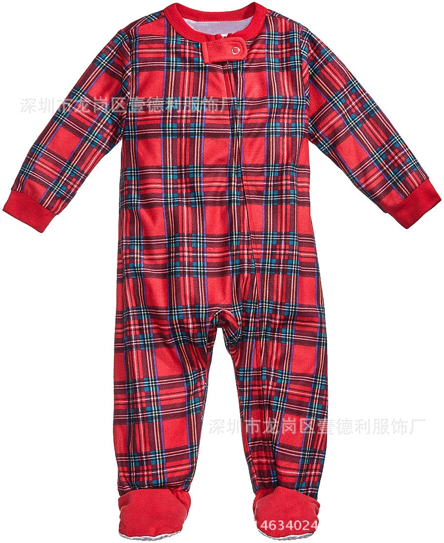 Christmas parent-child pajamas 2 piece suit red plaid printing home wear pajamas children's clothing Pure color and comfortable enlarge