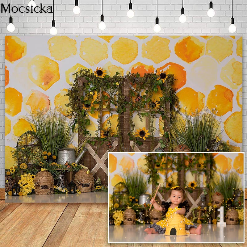 Mocsicka Bee Day Cake Smash Backdrops For Sunflowers Beehive Honey Children 1st Birthday Photographic Studio Photo Backgrounds enlarge