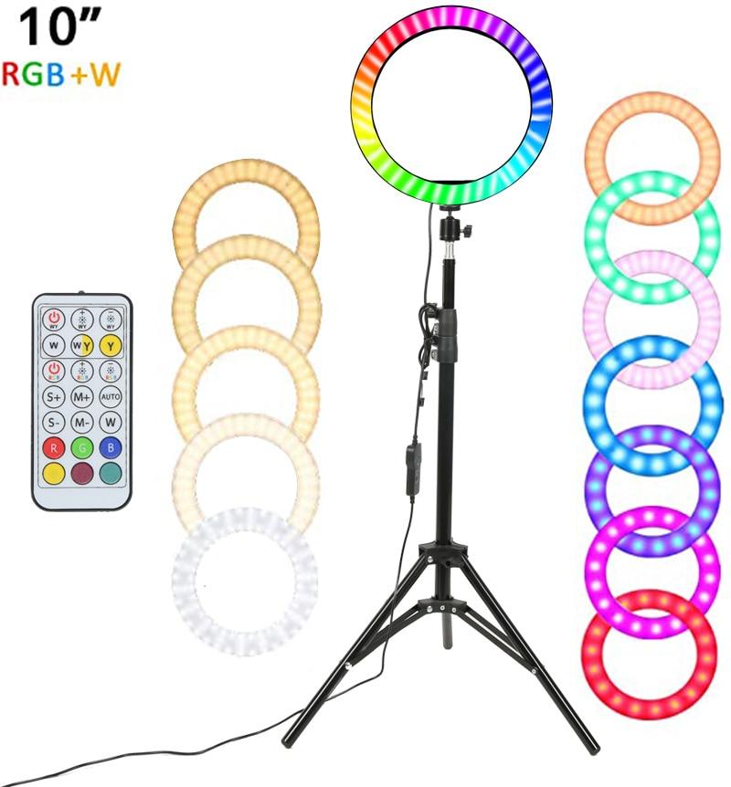 مصباح حلقي LED RGB مقاس 10 بوصات للتصوير الفوتوغرافي ، مصباح حلقي ملون قابل للتعتيم مع حامل تحكم لـ TikTok Youtube Vlog Live