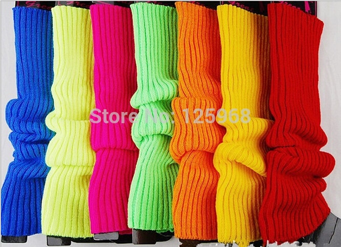 Free Shipping! 5Pairs/Lot New 2014 autumn winter fluorescence hot bright color women knited leg warmers boots long socks