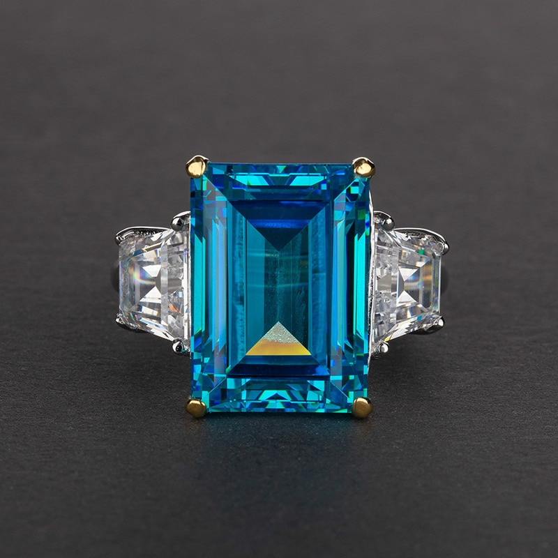 14 Karat Sapphire Emerald Ruby prostokątny 10*14 S925 srebrny pierścionek obrączki biżuteria srebrna