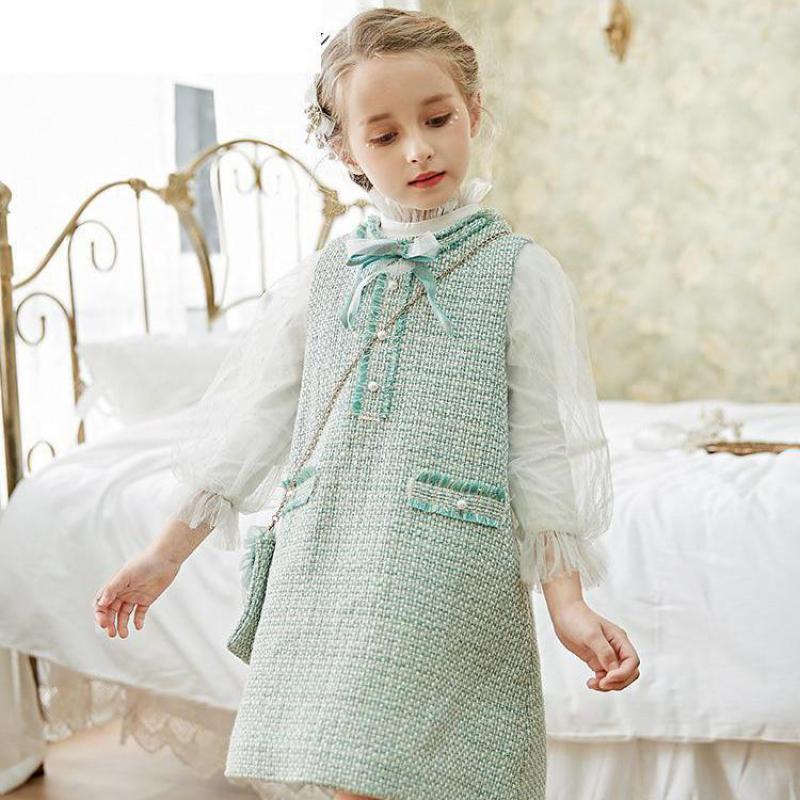 Girls Dress 2020 Spring Party Children Long-sleeve Lace Dress+ Plaid Dress Clothes Suits Design 2-10y Girl Princess Clothes Sets