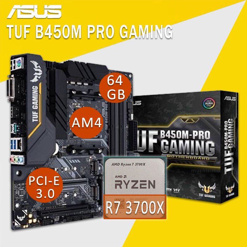 اللوحة الام لـ ASUS TUF B450M PRO للألعاب مع اللوحة الام AMD Ryzen 7 3700X كومبو DDR4 AMD B450 مجموعة اللوحة الام للالعاب