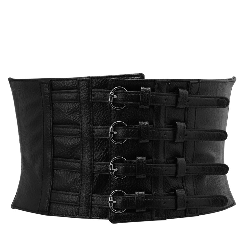 Drop ship & atacado retro senhora forma da cintura espartilho largo elástico falso cinto de couro estiramento cintura outubro 8