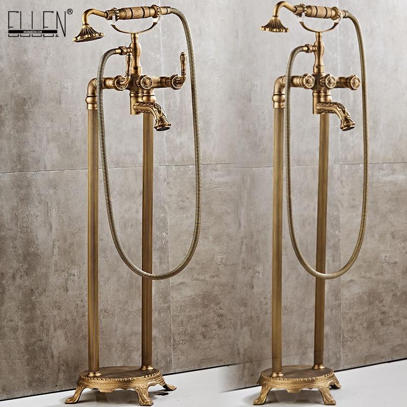 صنبور حمام قائم بذاته من البرونز العتيق ، حمام ساخن وبارد ، صنبور حمام مربع مع دش يدوي ELB726