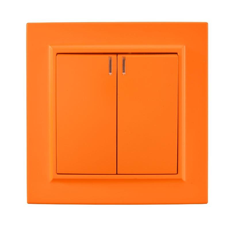 Interruptor de luz 2 gang 1 way con indicador interruptor de pared decorativo estándar europeo 10A 250V legrand Schneider EP-04 naranja
