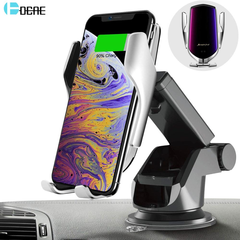 Cargador de coche inalámbrico Qi, soporte de teléfono automático para salida de aire, soporte de montaje de teléfono para iPhone 11 Pro XS XR X 8 Samsung S10 S9 S8 Note 10 9