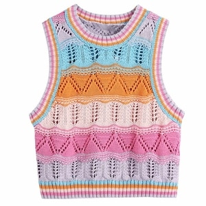 Women Girls Rainbow Striped Knitted Sleeveless Vest Harajuku Hollow Out Crochet Jumper Crop Top Casual Slim Fit Sweater