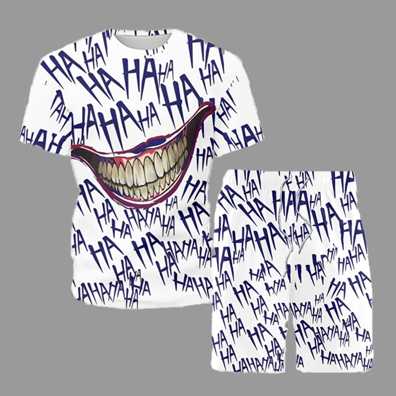 AliExpress - Summer Sets Men Short Sleeve Hip Hop Big Mouth Printed Male T-Shirt Shorts Beach Set 2021 Funny Trendy Youth Casual Clothes 5XL