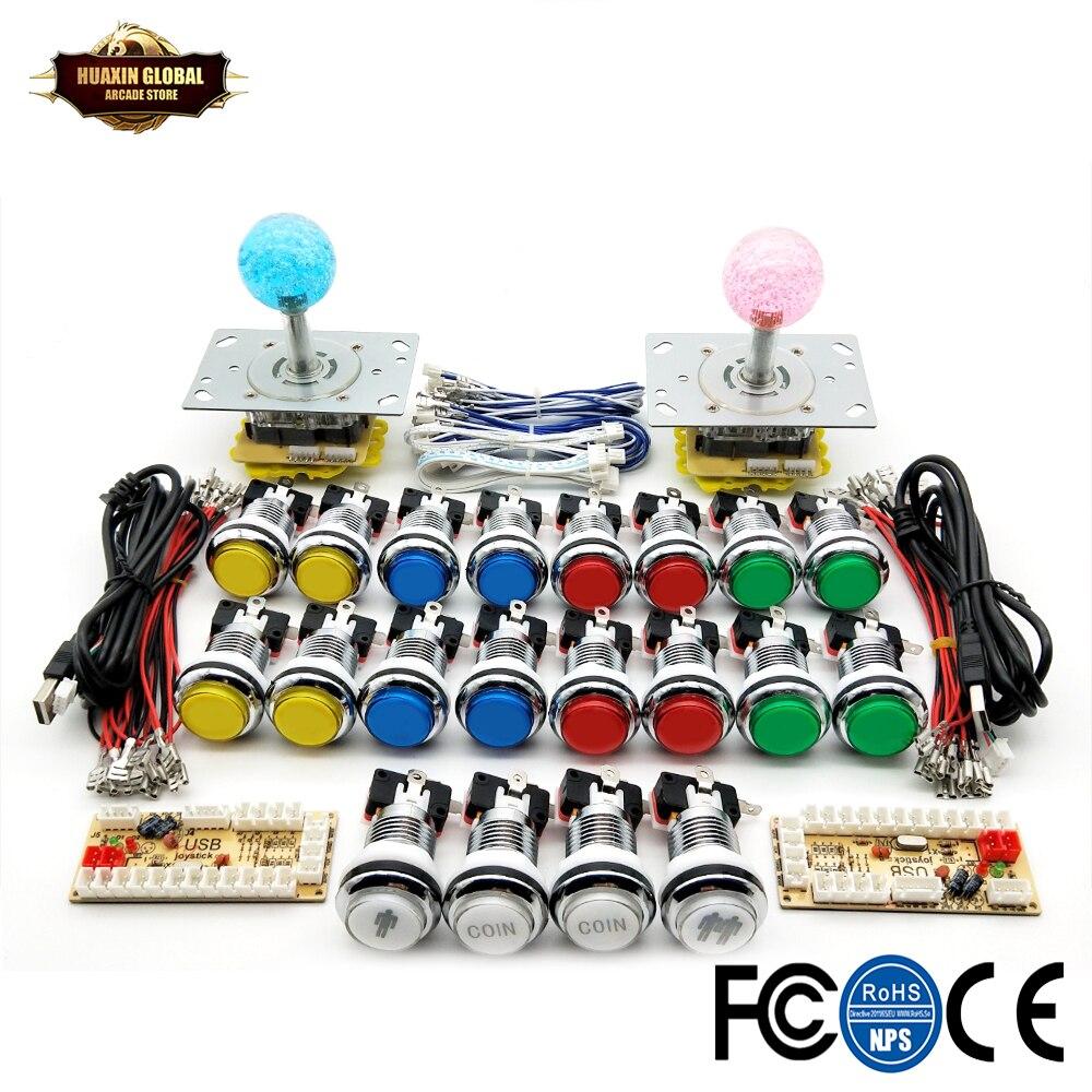 لتقوم بها بنفسك ممر عدة 5 فولت LED عصا التحكم الكروم مطلي دفع بوتونك 1 و 2 لاعب عملة زر USB صفر تأخير إلى الكمبيوتر التوت بي لعبة خزانة