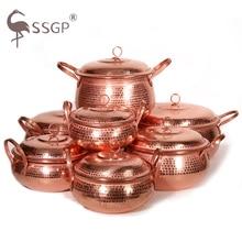 100% Pure Copper Pot Stew Steam Soup Purple Deep Casserole Steamer Handmade Soup Pot Hot 18-30cm Copper Pot Handmade Double Pots