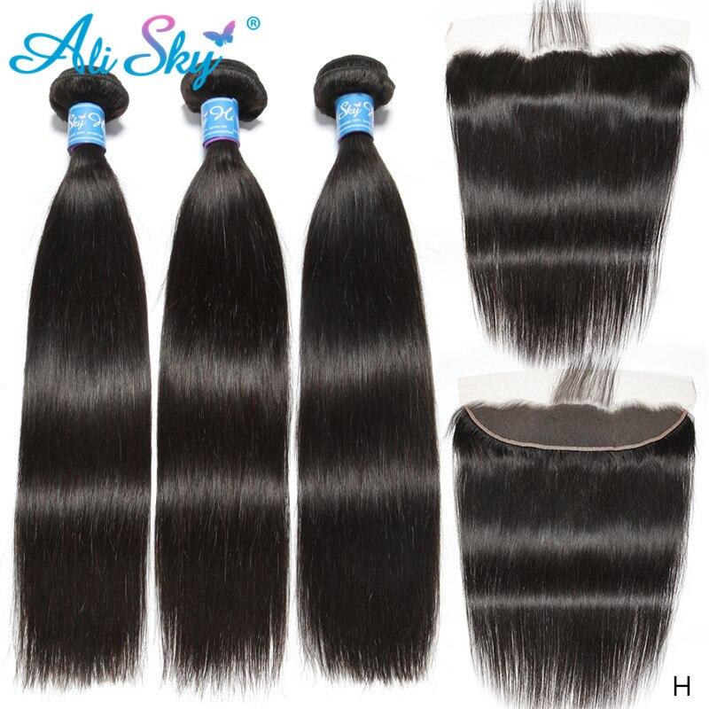 Alisky-وصلات شعر برازيلية طبيعية ، شعر ناعم بجودة ريمي ، مع غطاء دانتيل