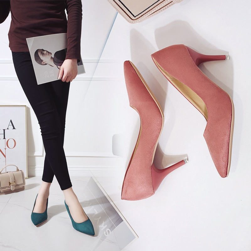 2021 الربيع والصيف موضة السيدات لون نقي أشار تو قبعات عالية الكعب حذاء كاجوال 1833