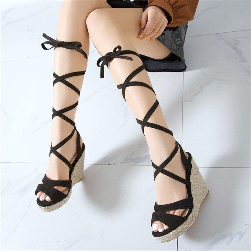 New Summer High Heels Platform Sandals Women Gladiator Wedges Pumps Wedding Dress Open Toe Ladies Shoes