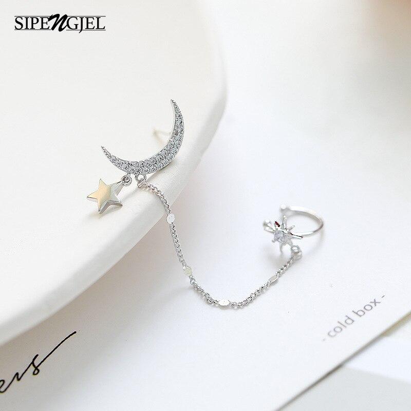 Na moda cz cristal lua estrela orelha cuff brincos para mulheres bonito lua e estrela brincos moda jóias 2020