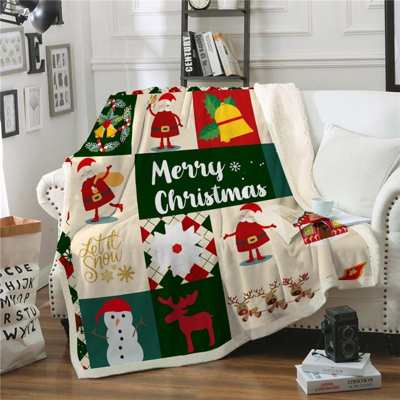 بطانية شتوية من الصوف لعيد الميلاد ، غطاء سرير من القطيفة لعيد الميلاد ، ناعم ودافئ ، لغرفة الأطفال ، والأريكة ، وسرير السيارة