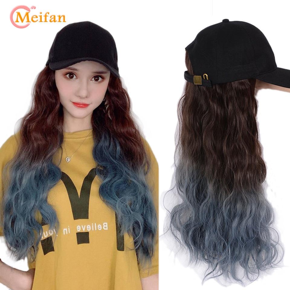 MEIFAN Natural de las mujeres de cabello Ombre pelucas gorra de béisbol con extensión de cabello sintético largo Cosplay del pelo peluca sombrero