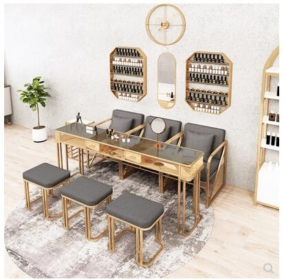 طاولة وكرسي لمشاهير فن الأظافر ، طاولة ذات سطح زجاجي ، مانيكير ، حديد رخامي ، مفردة أو مزدوجة