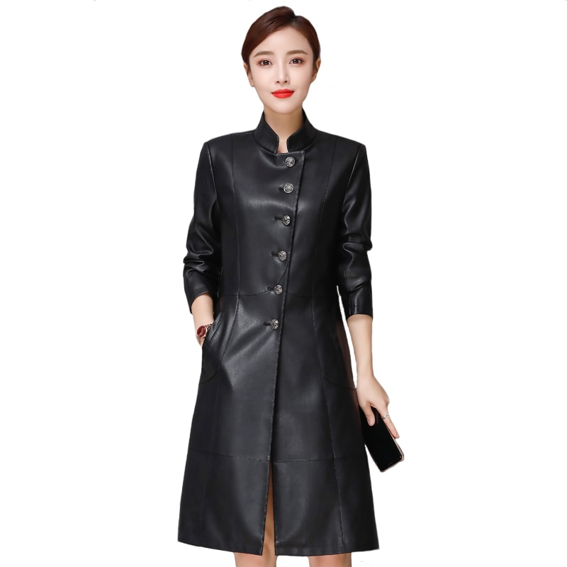 Autumn Winter Long Faux Leather Jackets Women Plus Size 5XL Casual Ladies Leather Jacket Fashion Black Pu Leather Trench Coat enlarge