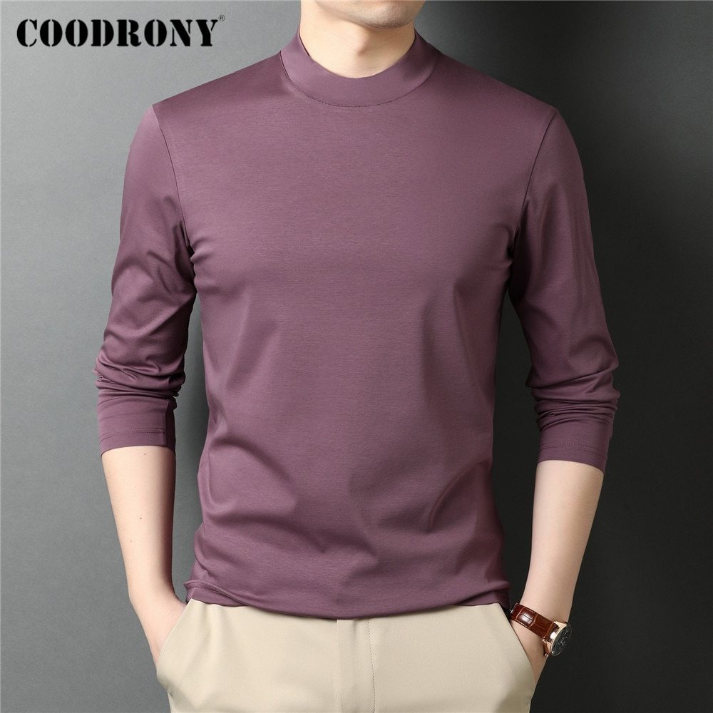 COODRONY-تي شيرت رجالي بياقة مدورة بأكمام طويلة ، تي شيرت كلاسيكي غير رسمي ، لون نقي ، C5068