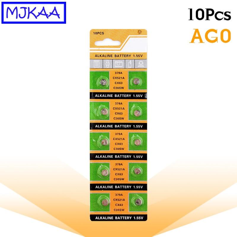 10 Uds 100% Original nuevo AG0 1,5 V pila de botón alcalina 379 SR521SW D379 SR63 V379 de larga duración pila de moneda baterías para MP3