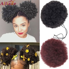 Ailiade afro puff curto kinky encaracolado chignon cabelo bun cordão de alta temperatura sintético rabo de cavalo updo clips extensão do cabelo
