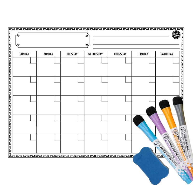 Refrigerator Magnets Weekly Monthly Planner Calendar Whiteboard Erasable Markers Magnetic Message Drawing Board Diary Stickers