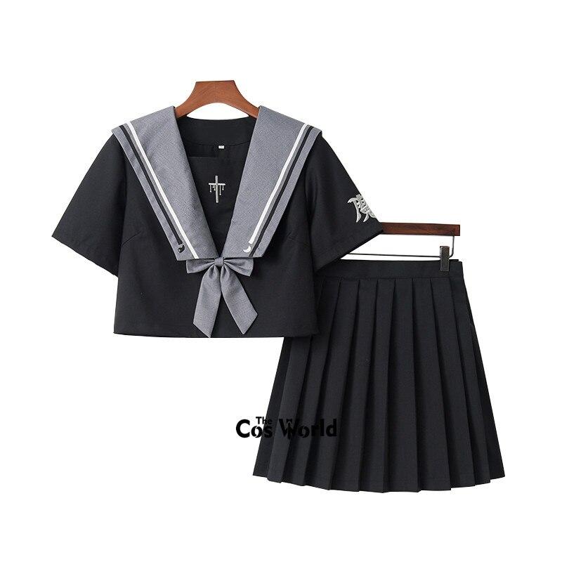 [Witch Rebirth] traje negro de marinero de la Marina de verano Tops faldas JK uniforme de escuela secundaria uniforme de clase estudiantes tela