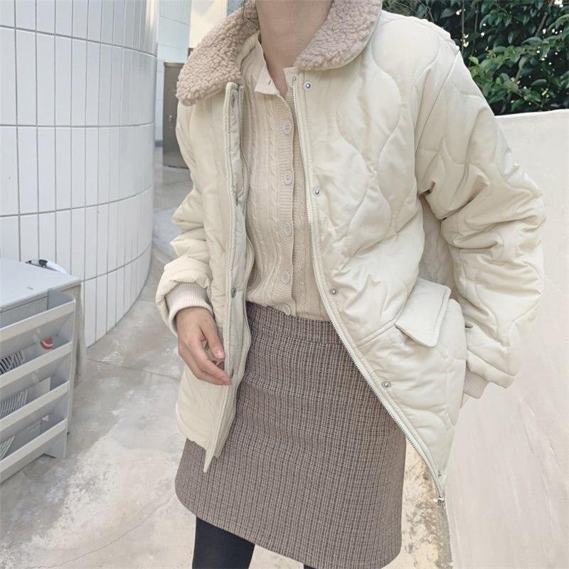 HziriP Winter Slender Chic Women Drawstring New Cotton Thick Women Outwear Basic Warm Loose Casual Jacket Fresh Brief Jackets