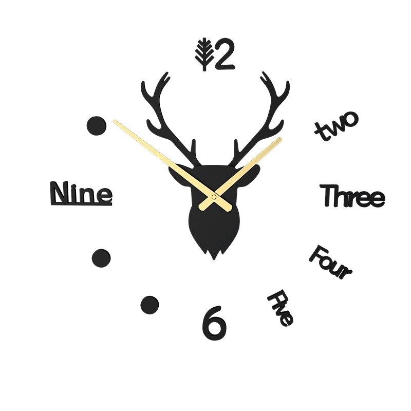 Reloj de pared Diy de estilo nórdico, adhesivo con cabeza de ciervo, relojes creativos para decoración de pared, decoración del hogar, sala de estar, dormitorio, Duvar Saati, regalo FZ624