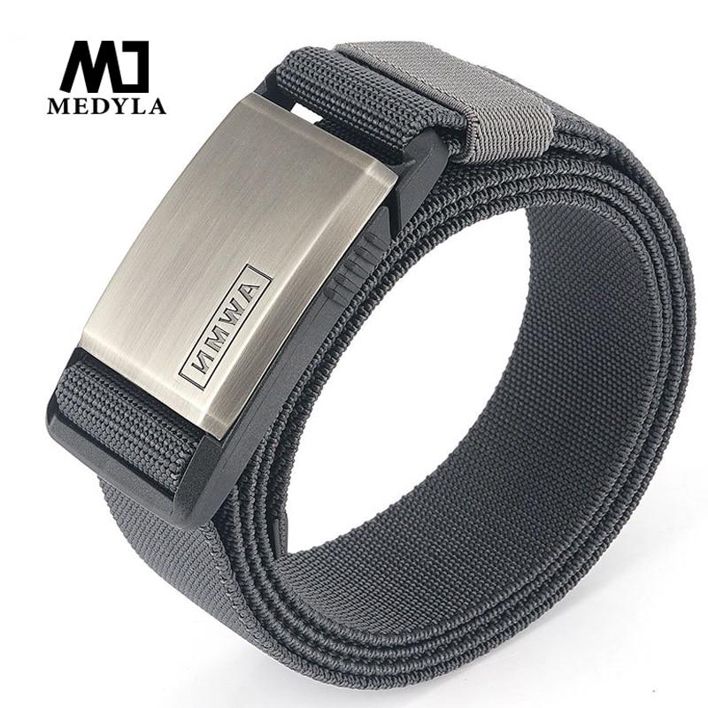 Medyla 2020 new men's belt metal nylon magnetic buckle tactical belt fashion casual men's elastic belt