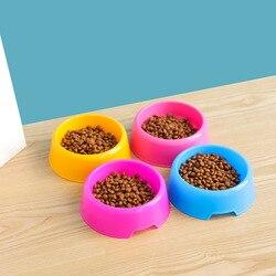 Tigela redonda de plástico para animais, tigela colorida para alimentar animais de estimação cachorros e gatos, tigela de água, produtos para animais de estimação