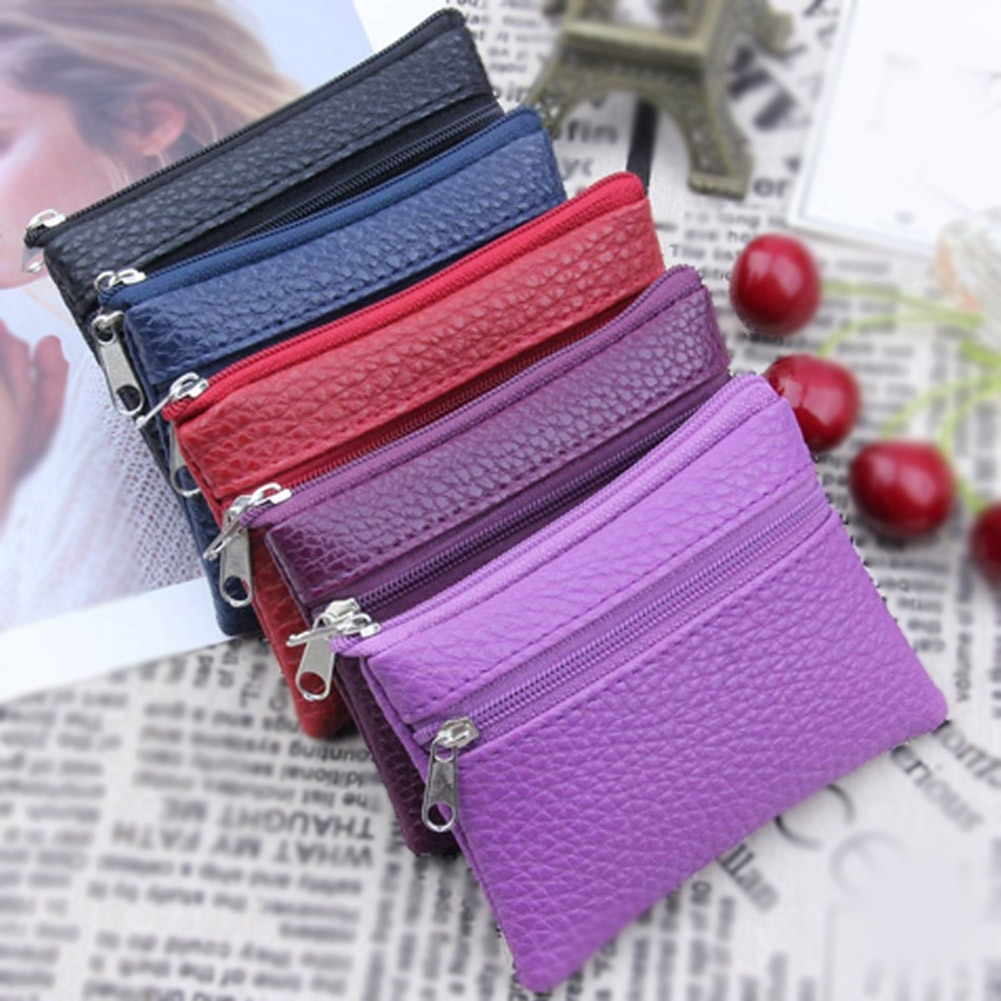 PU Leather Coin Purse Women Small Wallet Mini Zipper Money Bags Children's Pocket Wallets Key Holder Vintage Change Purses
