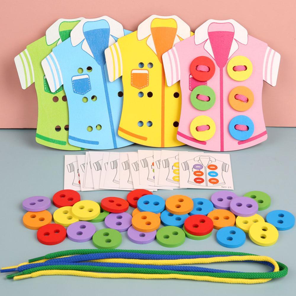 Tablero de bricolaje para niños ropa juego de cuerda delicado diseño de madera bordes lisos padres-niños coser juguete de madera de educación