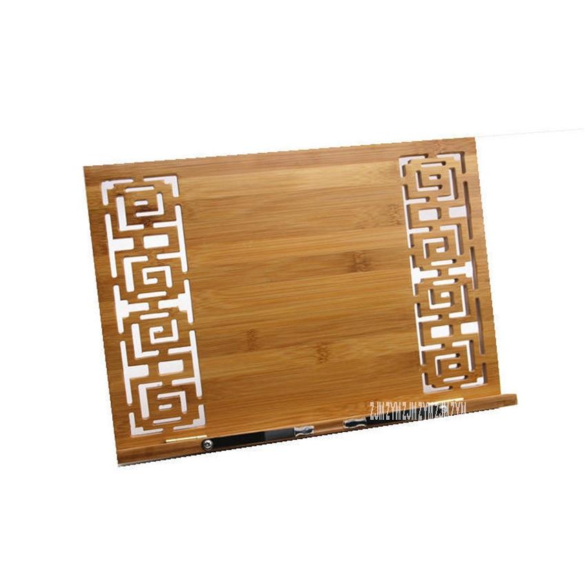 Suporte de leitura ajustável para madeira, portátil, descanso para leitura, livro, biscoito, sala de estudo, casa, bambu